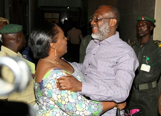 Chief Olisah Metuh jubilating with wife after the ufoundaed case against case against him was thrown out for lack of merit