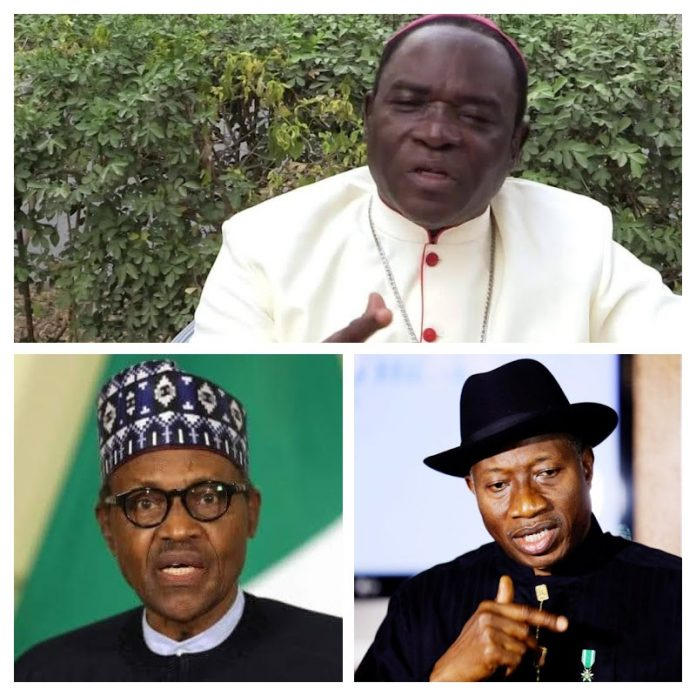From top to bottom right are Bishop Kukah, President Buhari and President Jonathan