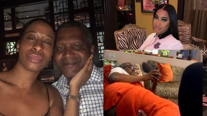 Aliko Dangote with his alleged Sidechics - Miss Autumn Spikes and Miss Bea Lewis