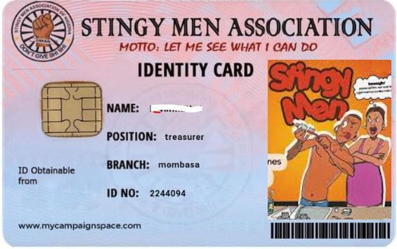 The official Identity card meant for every member of the Stingy Men Association to carry about.
