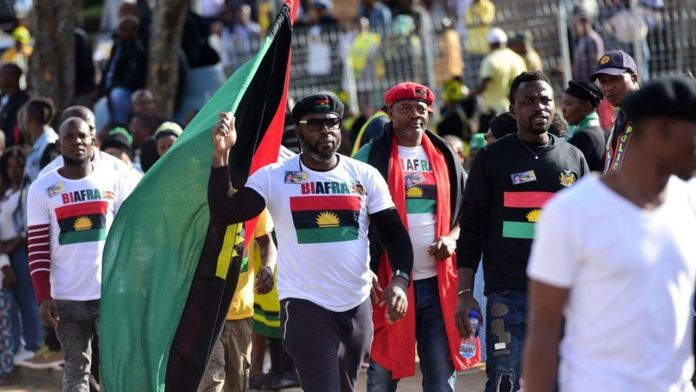 A cross section of the Indigenous People of Biafra (IPOB) proudly displaying their unrelenting allegiance for the restoration of Biafra notwithstanding the unjust clampdown on the group by the Nigerian government.