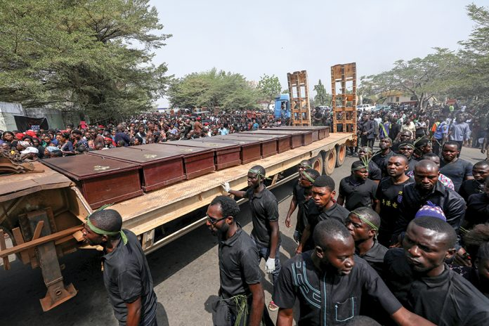 Burying the Farmers hacked to death by the Fulani Killer Herdsmen
