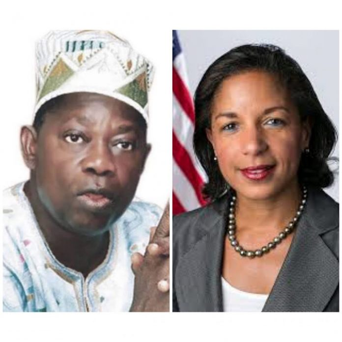 Picture of Chief MKO Abiola and Susan Rice, a former UN Ambassador and National Security Adviser, NSA, to President Barack Obama,