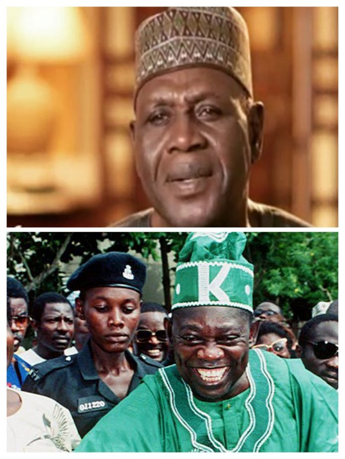Pictures of Amb. Baba Gana Kingibe and Late Chief MKO Abiola. Chief Abiola took Amb. Kingibe as his Vice Presidential Candidate of the SPD party during the 1988 General Elections in Nigeria. It is believed that Chief Abiola won the Election with wide margin but was not allowed to be sworn in as the President of Nigeria by General Babangida. He was jailed later by General Abacha and eventually murdered after Abacha's death in very strange circumstances and supposedly carried out with the help of Americans.