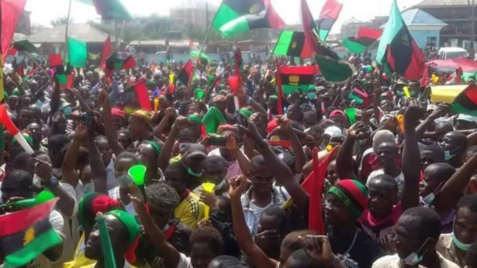 The Biafrans IPOB with their flags agitating for the separate State of Biafra.